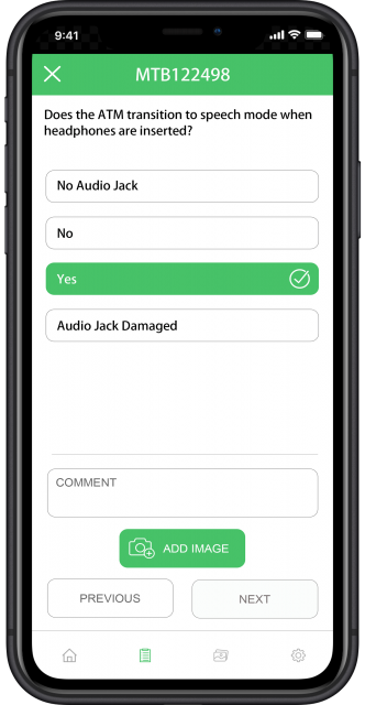 question screen with phone audio jack question